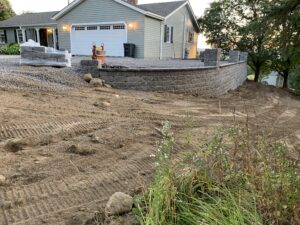 retaining-wall-installed-by-garage-in-Albany-March-2021