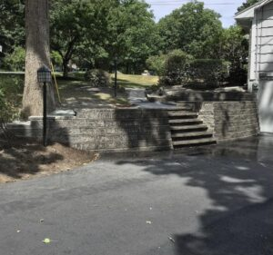 retaining-wall-next-to-garage-in-Albany